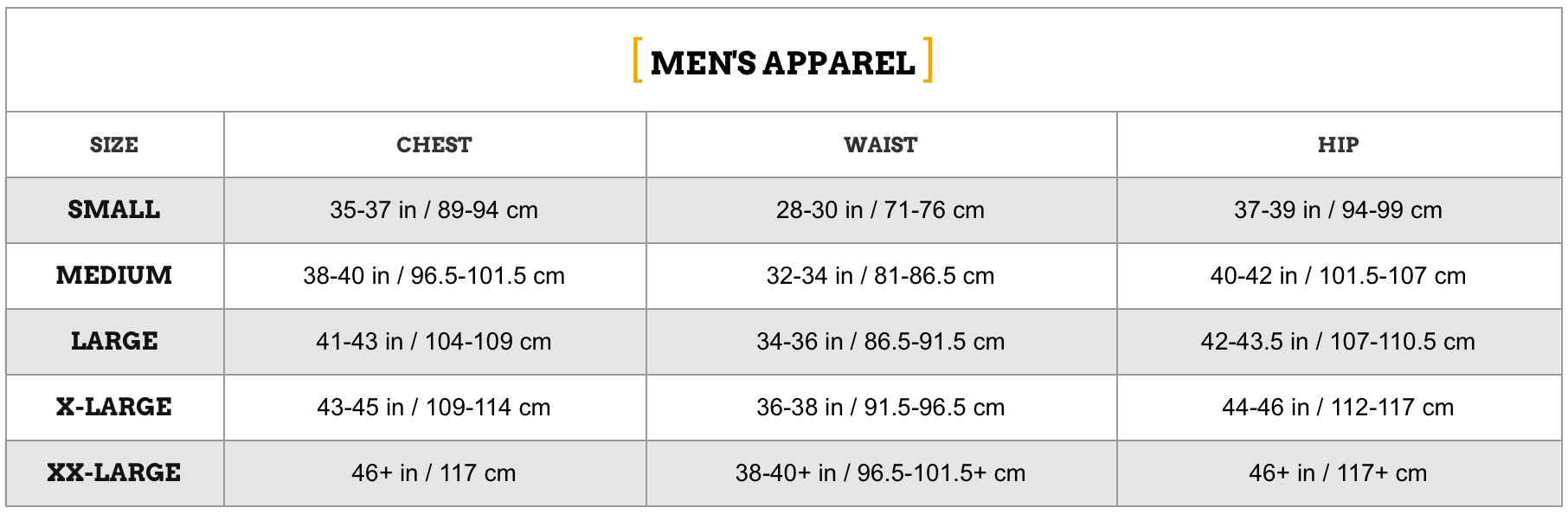 zoot-mens-apparel SIZE CHART