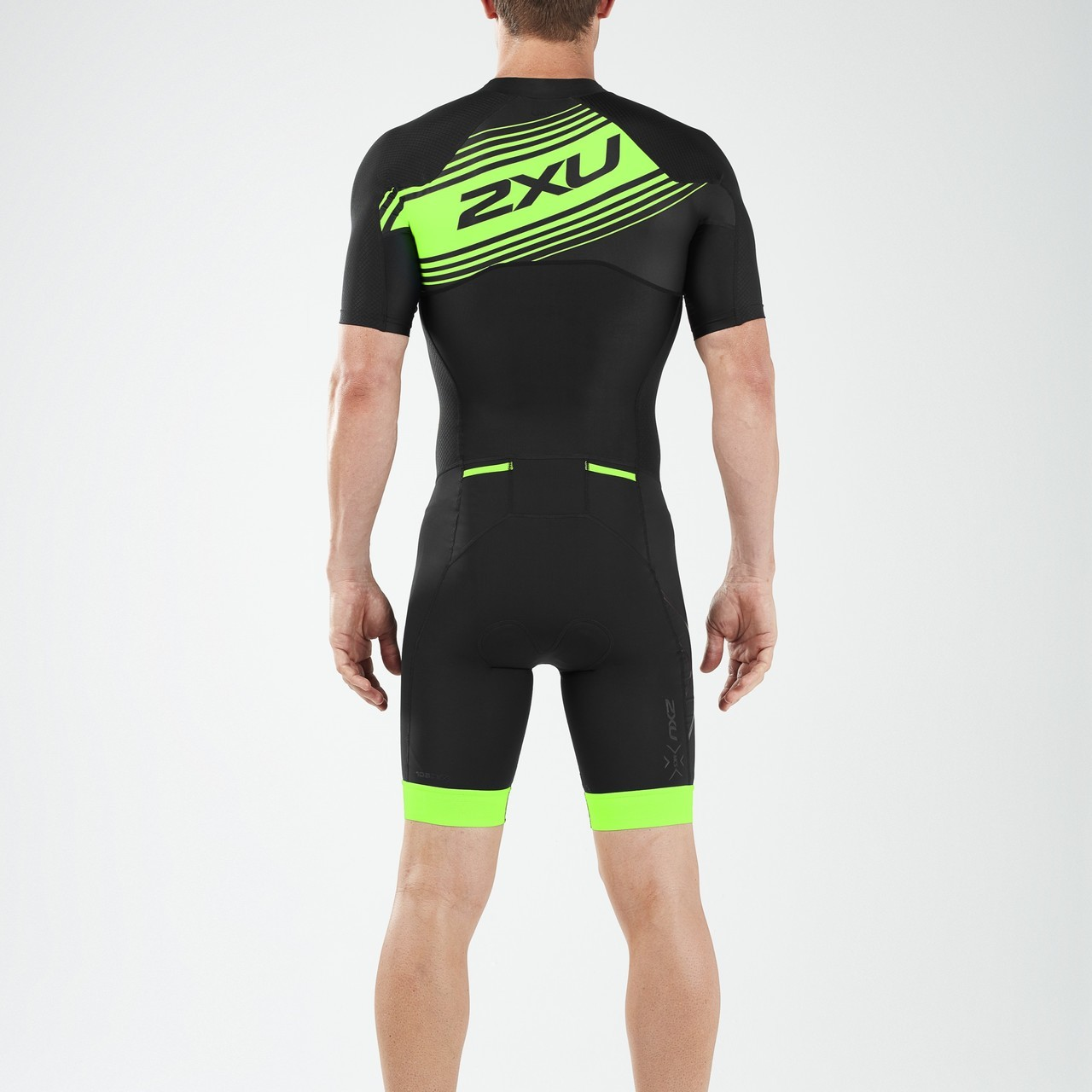 BODY 2XU MEN'S COMPRESSION FULL ZIP SLEEVED TRISUIT MT4838d black green logo back.jpg