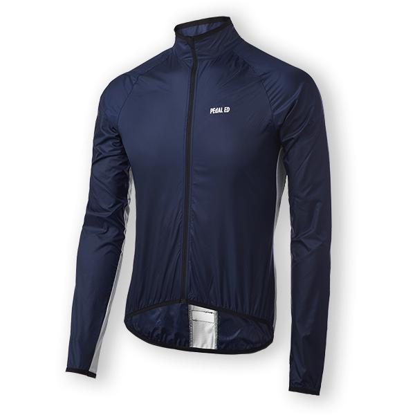 GIACCA CICLISMO PEdALED VESPER PACKABLE JACKET navy front.jpg