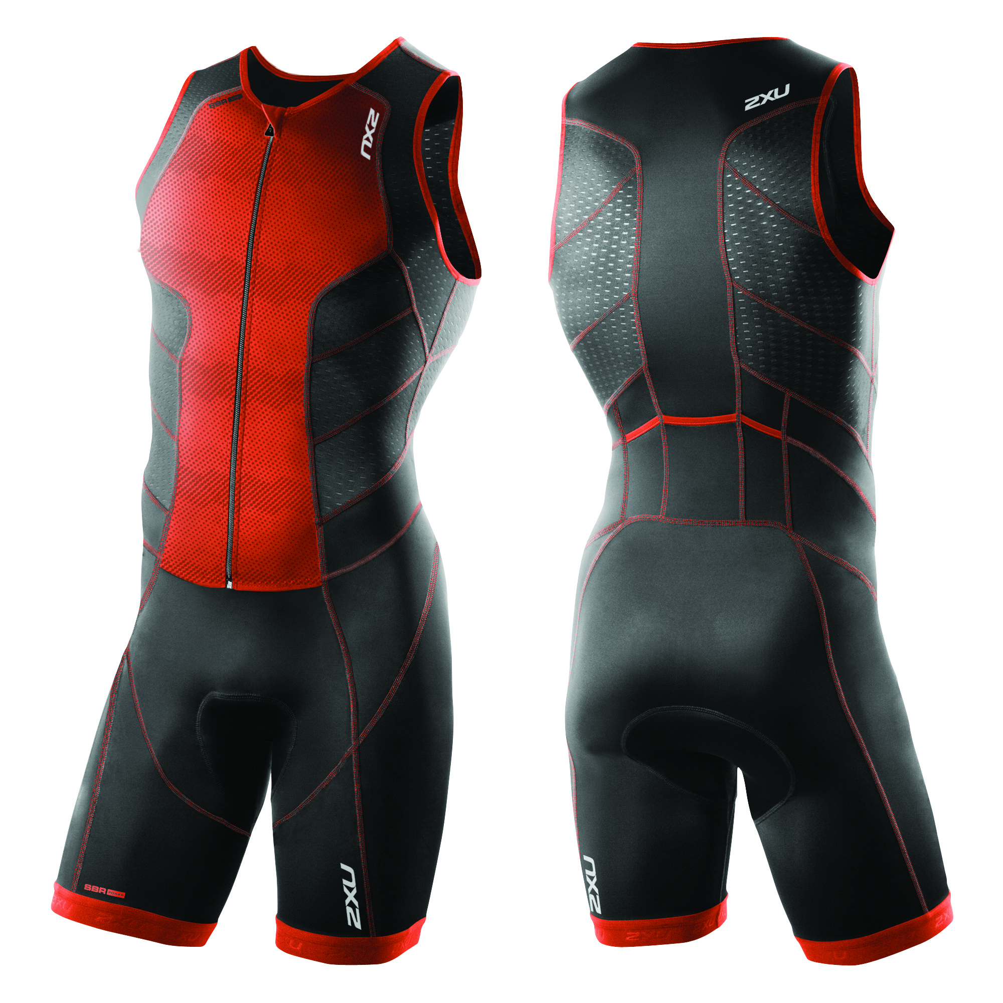 BODY TRIATHLON 2XU PERFORM FULL FRONT ZIP MEN'S TRISUIT MT3859D desert red print black