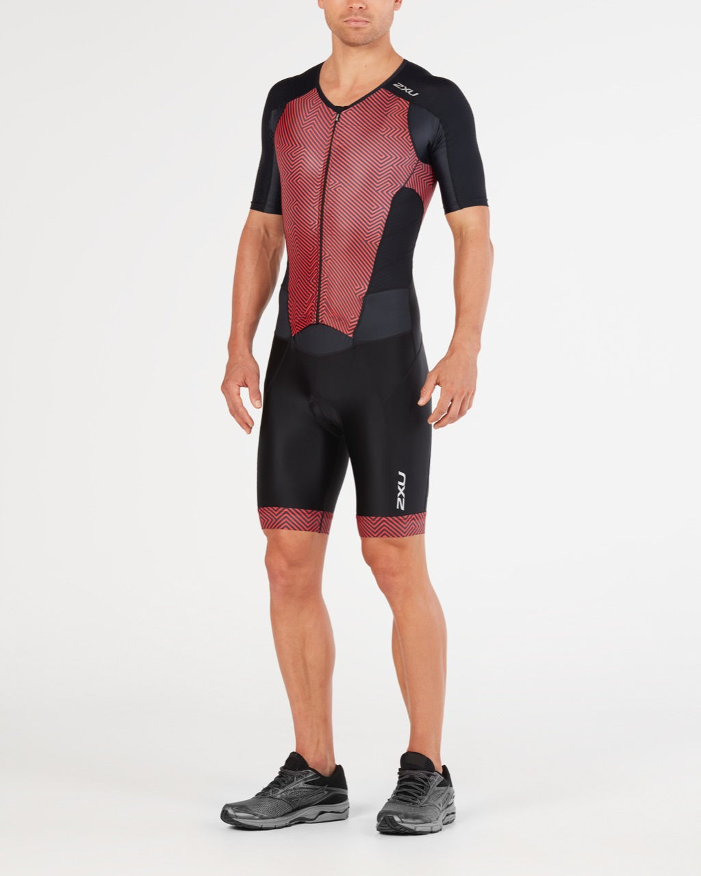 BODY 2XU MEN'S PERFORM FULL ZIP SLEEVED TRISUIT MT4847d black red.jpg