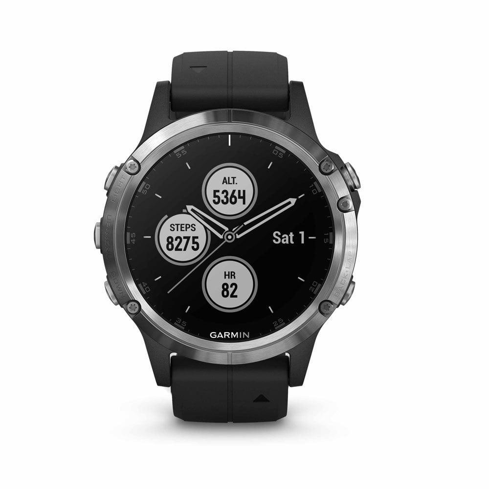 OROLOGIO GPS GARMIN FENIX 5S PLUS GLASS 010-01987-21 silver black.jpg