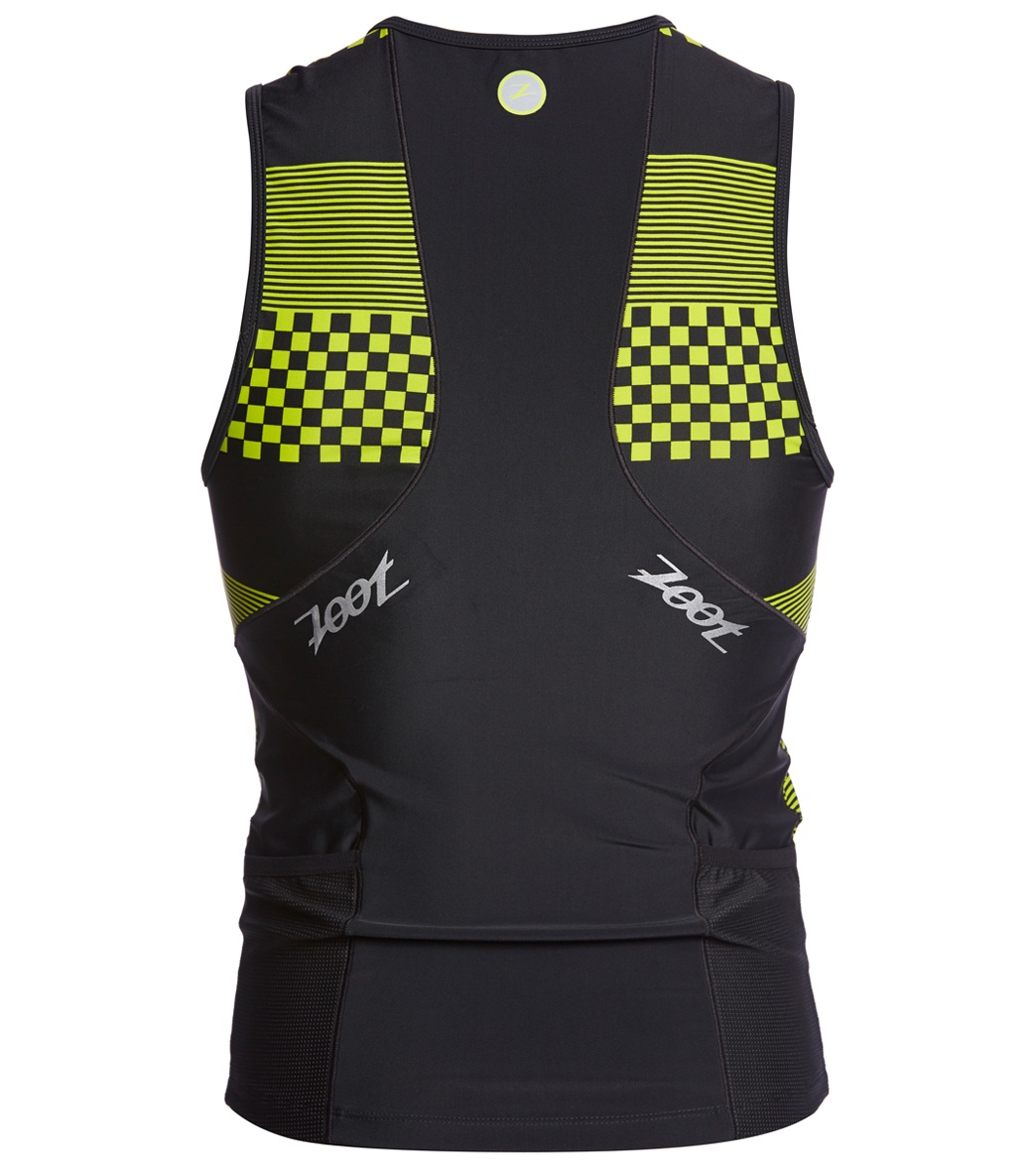 TOP TRIATHLON ZOOT MEN PERFORMANCE TRI FULL-ZIP TANK  26B3003 VOLT CHECKERS REAR.jpg